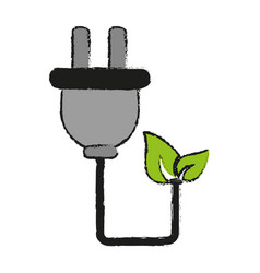 Plug with cord eco freindly related icon image vector
