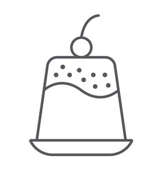 Pudding thin line icon sweet and food dessert vector