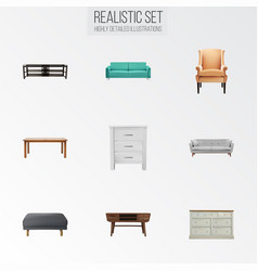 Realistic cupboard settee table and other vector