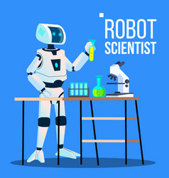 robot scientist laboratory chemist standing with vector image