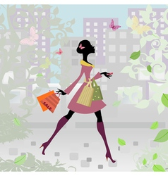 romantic city shopping girl vector image