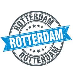 Rotterdam blue round grunge vintage ribbon stamp vector