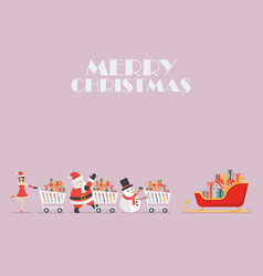 santa claus santa girl and snowman push a vector image