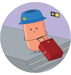 sausage traveler at the airport vector image