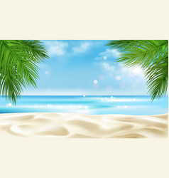 Sea beach with palm tree leaves background summer vector