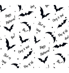 Seamless pattern of bat on white black silhouette vector