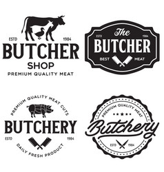 set butcher shop and butchery hand written vector image