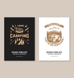 Set camping template flyer brochure vector