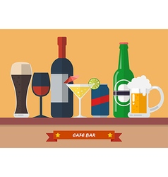 set drink bar flat icon vector image
