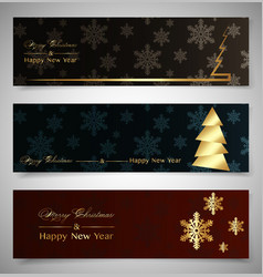 set horizontal christmas banners winter theme 2021 vector image