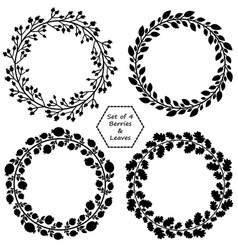 Set of 4 wreaths with black barries and leaves vector