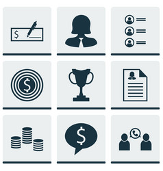Set of 9 hr icons includes business goal vector