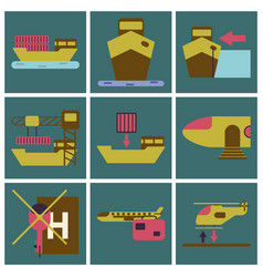 set of icons in flat design for cargo vector image