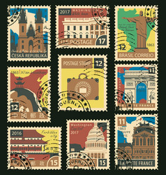 set postage stamps on travel theme vector image