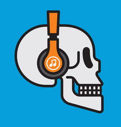 skull wearing wireless headphones badge design vector image