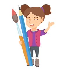 Smiling girl holding big pencil and paintbrush vector