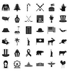Span icons set simple style vector