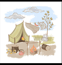 spring camping rest at nature hand drawn il vector image