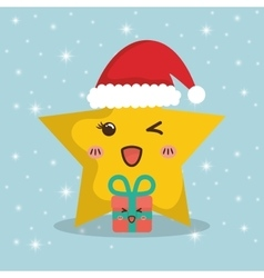 Star cartoon and gifts of chistmas design vector
