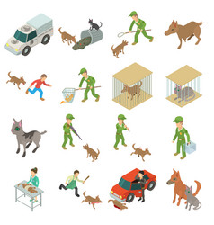 Stray animals icons set isometric style vector