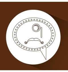 Symbol hipster monocle and long mustache vector