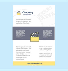 Template layout for movie clip comany profile vector