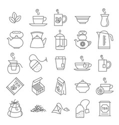Thin line tea icon set vector