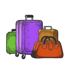 Travel bags suitcase sketch engraving vector