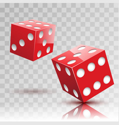 Two red dices gambling icon vector