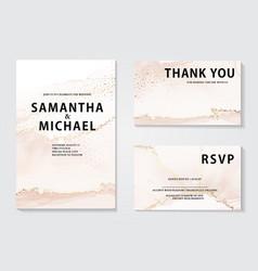 watercolor wedding invitation set elegant gold vector image