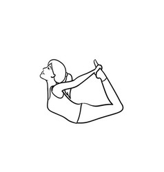 woman in yoga bow pose hand drawn outline doodle vector image