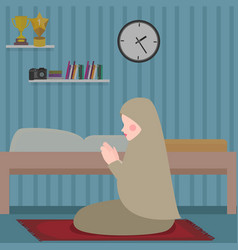 Woman islam pray in tahajud shalat at night in her vector