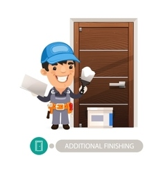 Worker Performs Finishing Doorway Work vector