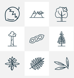 World icons line style set with rowan maple tree vector