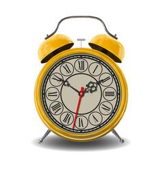 Yellow alarm clock vector