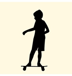 a silhouette of a little boy riding fast on a vector image vector image