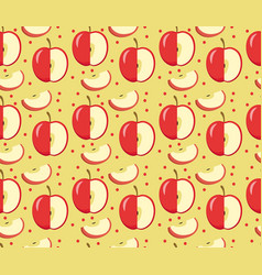 Apples seamless pattern red apple endless vector