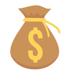 bag money icon flat style vector image vector image