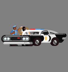 black police officer apprehend vector image vector image