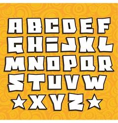 graffiti fonts alphabet with shadow on orange vector image