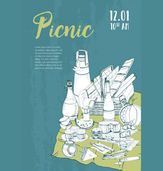 hand drawn picnic poster placard with place for vector image vector image