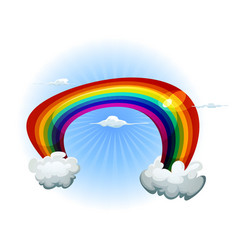 sky with rainbow and clouds vector image vector image