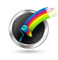 paint roller in a circle symbol vector image vector image