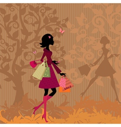 shopping in the park vector image vector image