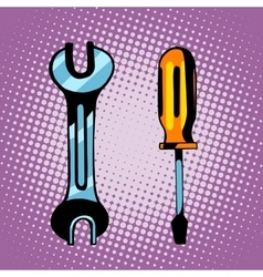 Tools screwdriver and wrench vector image