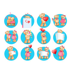 loving cartoon bears flat icons set vector image