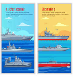 Military Ships Vertical Banners vector image vector image
