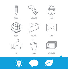 Pencil press hand and world globe icons vector