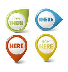 round 3d here there pointer vector image vector image
