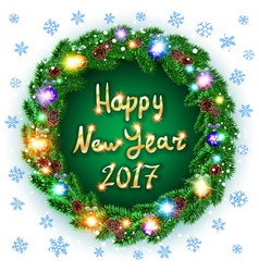 Christmas happy new year 2017 green wreath vector image